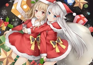 Rating: Safe Score: 85 Tags: 2girls aqua_eyes bell blush bow brown_hair christmas dress gray_hair hat hug imouto_sae_ireba_ii. kani_nayuta long_hair phone red_eyes santa_costume santa_hat shirakawa_miyako tagme_(artist) tree User: BattlequeenYume
