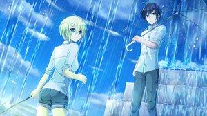 Rating: Safe Score: 15 Tags: aqua_eyes black_hair clouds green_hair male original rain sakakidani short_hair shorts sky stairs umbrella water User: RyuZU