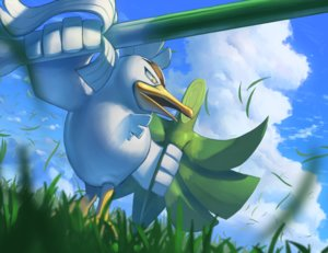 Rating: Safe Score: 8 Tags: animal bird close clouds grass leek nobody pokemon sirfetch'd sky spareribs sword weapon User: otaku_emmy