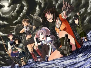 Rating: Safe Score: 33 Tags: aoba_(kancolle) black_hair blue_eyes bow_(weapon) braids brown_eyes brown_hair clouds elbow_gloves gloves green_eyes group hatsuyuki_(kancolle) kaga_(kancolle) kantai_collection kitakami_(kancolle) long_hair moon mutsu_(kancolle) navel orange_eyes pink_hair ponytail seifuku sendai_(kancolle) short_hair skirt sky thighhighs torn_clothes water weapon wink yoshitatsu_ousuke User: minabiStrikesAgain