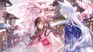 Rating: Safe Score: 70 Tags: animal_ears brown_hair building cherry_blossoms flowers japanese_clothes kimono kity1211_tetsu long_hair male original pink_hair tree white_hair User: BattlequeenYume