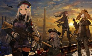 Rating: Safe Score: 54 Tags: anthropomorphism blush brown_eyes brown_hair building city clouds cropped g11_(girls_frontline) garter_belt girls_frontline gloves gray_hair green_eyes group gun hat hk416_(girls_frontline) hukahire0120 long_hair pantyhose red_eyes skirt sky sunset thighhighs twintails ump-45_(girls_frontline) ump-9_(girls_frontline) weapon User: BattlequeenYume