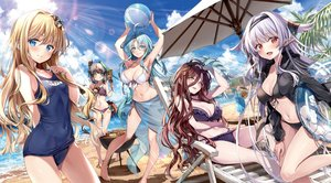 Rating: Safe Score: 110 Tags: alice_(sentouin_haken_shimasu!) barefoot beach bicolored_eyes bikini black_hair blonde_hair blue_eyes blue_hair blush breasts cleavage clouds drink food grimm_(sentouin_haken_shimasu!) group kakao_rantan long_hair navel pointed_ears red_eyes rose_(sentouin_haken_shimasu!) school_swimsuit sentouin_haken_shimasu! short_hair sky snow_(sentouin_haken_shimasu!) swimsuit tail tree water white_hair yellow_eyes User: mattiasc02