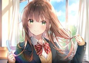 Rating: Safe Score: 92 Tags: bow brown_hair close clouds green_eyes long_hair original school_uniform sky yumesaki User: BattlequeenYume