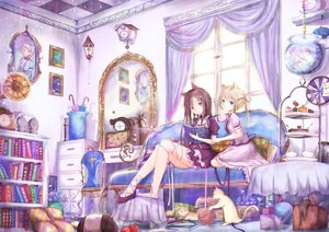 Rating: Safe Score: 115 Tags: animal animal_ears black_hair blonde_hair blue_eyes book cake cat catgirl couch dress fish food kinom lolita_fashion long_hair mirror original reflection ribbons umbrella User: FormX