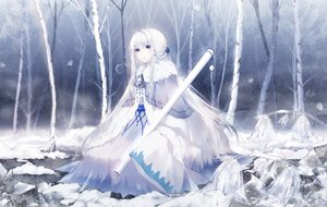 Rating: Safe Score: 54 Tags: bell blue_eyes braids cape flowers forest long_hair original polychromatic snow staff tree white_hair windworker User: otaku_emmy