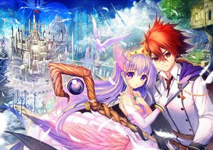 Rating: Safe Score: 69 Tags: akabane_(zebrasmise) animal bird cape clouds crown dragon dress feathers glasses gloves landscape long_hair original planet purple_eyes purple_hair red_eyes red_hair scenic sky staff tie tree User: Maboroshi