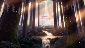 Rating: Safe Score: 99 Tags: forest original pei_(sumurai) scenic torii tree water waterfall User: FormX