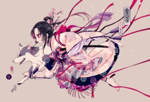 Rating: Safe Score: 53 Tags: animal barefoot black_hair bow dog flowers japanese_clothes long_hair maruino petals ribbons sword translation_request weapon User: RyuZU