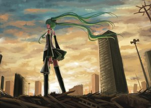 Rating: Safe Score: 44 Tags: clouds hatsune_miku thighhighs tsukikanade twintails vocaloid User: HawthorneKitty