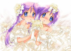 Rating: Safe Score: 103 Tags: blue_eyes dress flowers hiiragi_kagami hiiragi_tsukasa long_hair lucky_star nyanmilla purple_hair short_hair twintails wedding_attire User: SciFi