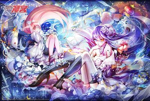 Rating: Safe Score: 48 Tags: 2girls animal bicolored_eyes blue_hair book bow butterfly fish flowers holmesa kneehighs long_hair original red_eyes red_hair thighhighs User: Flandre93