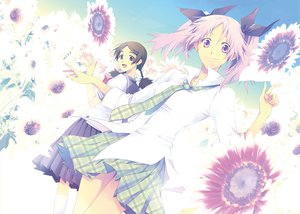 Rating: Safe Score: 28 Tags: flowers school_uniform shiki shimizu_megumi sunflower tanaka_kaori twintails User: HawthorneKitty