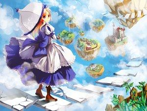 Rating: Safe Score: 34 Tags: alice_(wonderland) alice_in_wonderland blonde_hair dress newrein red_eyes sky umbrella User: tofugum