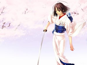 Rating: Safe Score: 39 Tags: brown_hair japanese_clothes kara_no_kyoukai katana kimono ryougi_shiki sword weapon white User: Oyashiro-sama