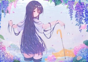 Rating: Safe Score: 40 Tags: amakawatamawono black_hair blush flowers long_hair original purple_eyes rain school_uniform signed thighhighs umbrella water zettai_ryouiki User: BattlequeenYume