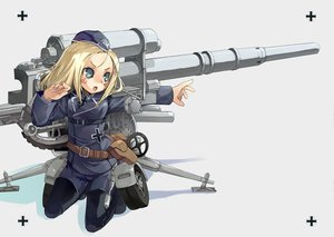 Rating: Safe Score: 10 Tags: anthropomorphism blonde_hair blue_eyes hat kurudaz mechagirl original uniform weapon User: Oyashiro-sama