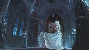 Rating: Safe Score: 197 Tags: crown dress jpeg_artifacts ks original petals white_hair User: opai