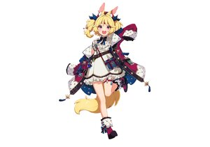 Rating: Safe Score: 36 Tags: animal_ears blonde_hair blush book boots bow dress garter hat mamyouda nicola_aldin red_eyes seventh_v short_hair tail third-party_edit twintails white User: otaku_emmy