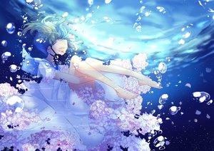 Rating: Safe Score: 65 Tags: barefoot bubbles dress flowers green_hair lluluchwan mask ohana_(lluluchwan) original signed underwater water User: BattlequeenYume