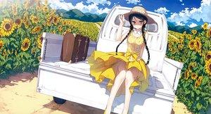 Rating: Safe Score: 238 Tags: 5_nenme_no_houkago black_hair braids dress flowers hat kantoku long_hair miyaguchi_hiromi original scan summer_dress sunflower User: Wiresetc
