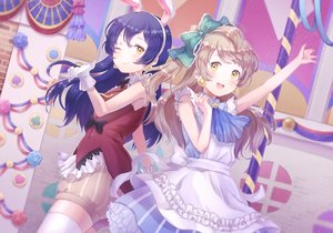 Rating: Safe Score: 29 Tags: 2girls animal_ears apron blue_hair bow brown_hair bunny_ears dress gloves headband long_hair love_live!_school_idol_project minami_kotori shorts sonoda_umi suzumi_shiro thighhighs wink yellow_eyes User: RyuZU
