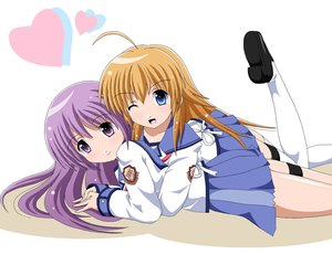 Rating: Safe Score: 13 Tags: 2girls angel_beats! blue_eyes brown_hair fai hug irie_miyuki long_hair purple_eyes purple_hair seifuku sekine_shiori skirt thighhighs wink User: Kumacuda