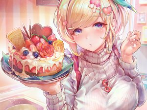 Rating: Safe Score: 60 Tags: apron blonde_hair blue_eyes breast_hold breasts cake chocolate close food fruit original pocky strawberry tocope User: otaku_emmy