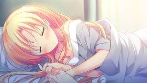 Rating: Safe Score: 26 Tags: alcot blonde_hair blush chibana_ryouka game_cg kimi_no_tonari_de_koishiteru! long_hair motomiya_mitsuki sleeping User: Wiresetc