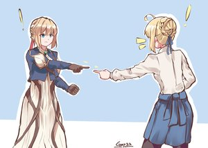 Rating: Safe Score: 55 Tags: 2girls aqua_eyes artoria_pendragon_(all) blonde_hair braids crossover dress fate_(series) fate/stay_night gloves parody ribbons saber short_hair signed skirt tegar32 violet_evergarden violet_evergarden_(character) User: otaku_emmy