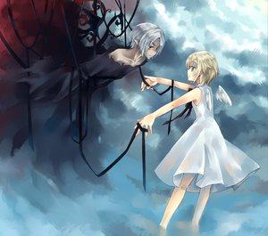 Rating: Safe Score: 49 Tags: blonde_hair blue_eyes dhiea eien_no_shounen lost lost-ko orange_eyes pointed_ears ribbons short_hair sound_horizon wings User: w7382001