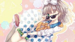 Rating: Safe Score: 38 Tags: amatsuji asuka_hina bow brown_hair dress green_eyes headband nijisanji sunglasses thighhighs wink User: BattlequeenYume