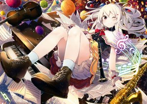 Rating: Safe Score: 143 Tags: animal bird blush boots flute guitar instrument nmaaaaa original paper piano red_eyes scan skirt socks white_hair wink wristwear User: mattiasc02