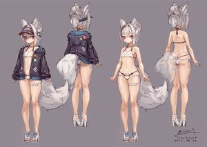 Rating: Safe Score: 33 Tags: animal_ears ass bikini braids flat_chest foxgirl garter gray gray_hair hat hoodie navel original red_eyes signed suzuno_(bookshelf) swimsuit tail User: otaku_emmy