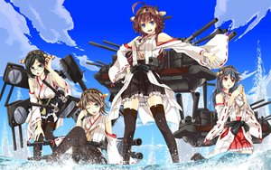 Rating: Safe Score: 119 Tags: anthropomorphism black_hair blue_eyes bow brown_hair clouds glasses group haruna_(kancolle) headband hiei_(kancolle) ivuki japanese_clothes kantai_collection kirishima_(kancolle) kongou_(kancolle) long_hair miko red_eyes short_hair skirt sky thighhighs water wink User: STORM