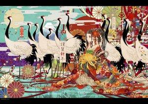Rating: Safe Score: 41 Tags: animal bird flowers japanese_clothes kimono nanahara_shie original watermark User: FormX