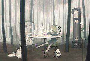 Rating: Safe Score: 102 Tags: animal blonde_hair blue_eyes flowers forest kimura_daisuke original rabbit skirt tree User: korokun