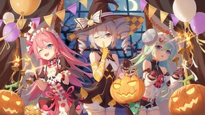 Rating: Safe Score: 82 Tags: aqua_hair blue_eyes bronya_zaychik dress elbow_gloves gloves gray_eyes gray_hair halloween hat honkai_impact latiosss liliya_olenyeva long_hair maid night pink_hair pumpkin rozaliya_olenyeva twintails witch User: Nepcoheart