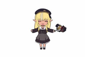 Rating: Safe Score: 23 Tags: animated blonde_hair cait chibi dark_skin dress hat hololive long_hair pointed_ears school_uniform shiranui_flare User: gnarf1975