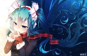 Rating: Safe Score: 75 Tags: aqua_hair bai_yemeng blue_eyes blush chocolate drink gloves hatsune_miku headband long_hair ribbons scarf signed twintails valentine vocaloid User: RyuZU