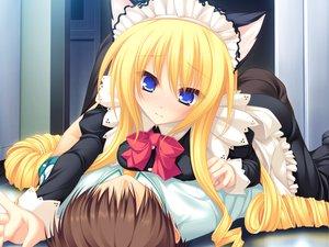 Rating: Safe Score: 102 Tags: animal_ears blonde_hair blue_eyes blush game_cg koshimizu_rei maid mikagami_mamizu neko_koi whirlpool User: Wiresetc