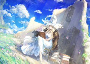 Rating: Safe Score: 125 Tags: blonde_hair book clouds dress grass hat leaves long_hair original petals ruins sky tori_(qqqt) witch witch_hat User: Flandre93