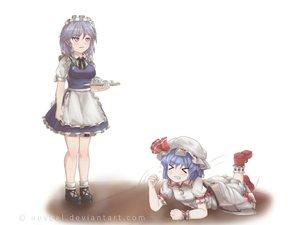 Rating: Safe Score: 6 Tags: 2girls blue_hair braids dress drink hat izayoi_sakuya maid novcel remilia_scarlet signed touhou white User: humanpinka