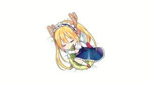 Rating: Safe Score: 92 Tags: blonde_hair blush chibi dress gloves headband horns kobayashi-san_chi_no_maid_dragon long_hair maid signed sleeping tail tiny_(tini3030) tooru_(maidragon) twintails white User: Hakha