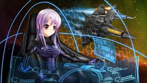 Rating: Safe Score: 106 Tags: aircraft combat_vehicle lita_(keyboard000) purple_hair red_eyes space tagme User: gnarf1975