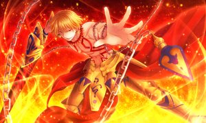 Rating: Safe Score: 14 Tags: all_male amano_sora blonde_hair chain fate_(series) fate/stay_night gilgamesh male navel red_eyes short_hair sword tattoo weapon User: RyuZU