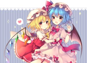 Rating: Safe Score: 67 Tags: 2girls blonde_hair blue_hair blush bow flandre_scarlet hat heart hug long_hair red_eyes remilia_scarlet ribbons ruhika skirt touhou vampire wings User: 蕾咪