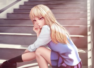 Rating: Safe Score: 143 Tags: blonde_hair long_hair miura_naoko red_eyes sakura-sou_no_pet_na_kanojo seifuku shiina_mashiro skirt socks stairs watermark User: Flandre93