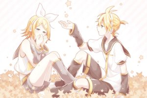 Rating: Safe Score: 11 Tags: blonde_hair blue_eyes blush headband headphones kagamine_len kagamine_rin kneehighs male short_hair shorts stars tagme_(artist) tears tie vocaloid User: otaku_emmy