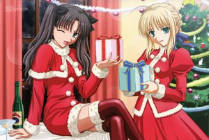 Rating: Safe Score: 55 Tags: artoria_pendragon_(all) christmas fate_(series) fate/stay_night megami saber scan thighhighs tohsaka_rin User: Oyashiro-sama